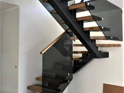 U-beam and timber treads - rustic/industrial staircase