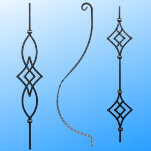 Wrought iron elements for fences and gates